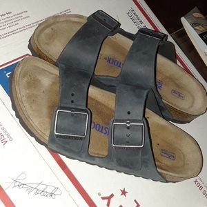 birkenstock 250 leather 2- strap slide sandals